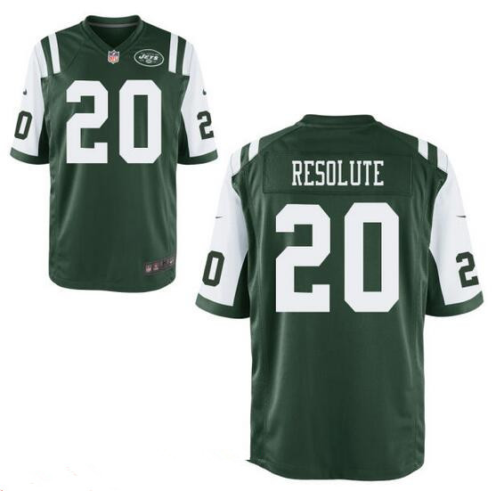 Men's New York Jets Resolute Support #20 Resolute Green Team Color Stitched NFL Nike Elite Jersey