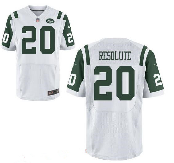 Men's New York Jets Resolute Support #20 Resolute White Road Stitched NFL Nike Elite Jersey