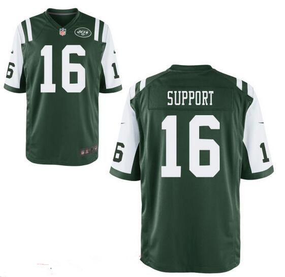 Men's New York Jets Resolute Support #16 Resolute Green Team Color Stitched NFL Nike Elite Jersey