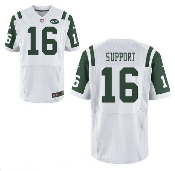 Men's New York Jets Resolute Support #16 Resolute White Road Stitched NFL Nike Elite Jersey