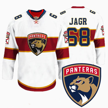 Men's Florida Panthers #68 Jaromir Jagr New Logo Reebok White Premier Player Jersey