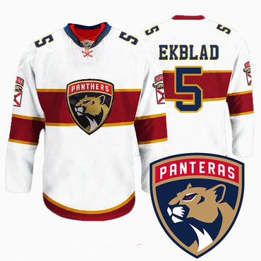 Men's Florida Panthers #5 Aaron Ekblad New Logo Reebok White Premier Player Jersey