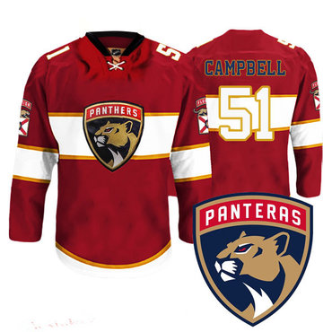 Men's Florida Panthers #51 Brian Campbell New Logo Reebok Red Premier Player Jersey