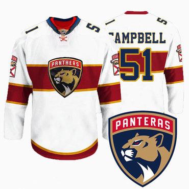Men's Florida Panthers #51 Brian Campbell New Logo Reebok White Premier Player Jersey