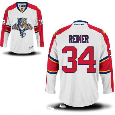 Men's Florida Panthers #34 Premier Away White Hockey Jersey