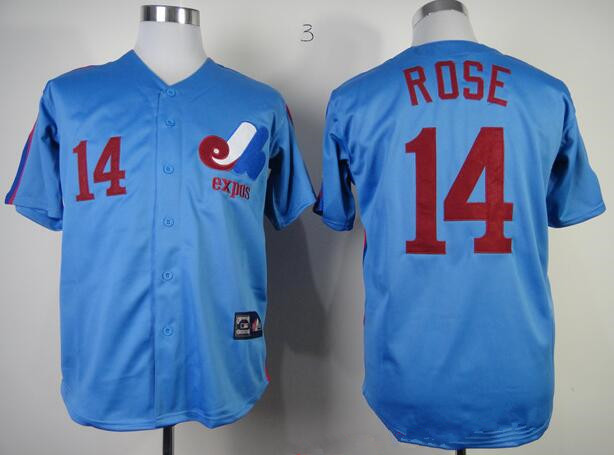 Men's Montreal Expos #14 Pete Rose 1982 Royal Blue Majestic Cool Base Cooperstown Collection Player Jersey