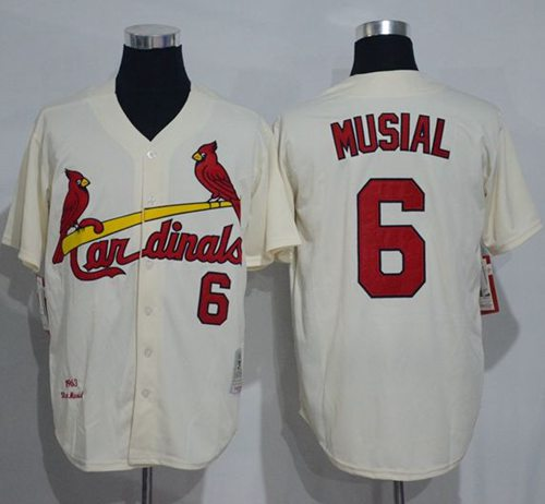 Men's St. Louis Cardinals #6 Stan Musial Cream Stitched 1963 MLB Cooperstown Collection Jersey by Mitchell & Ness