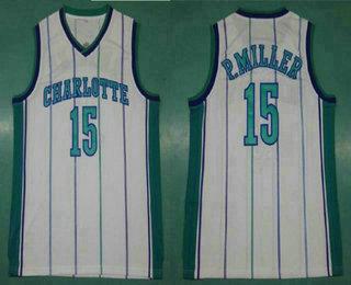 Men's Charlotte Hornets #15 Percy Miller White Hardwood Classics Soul Swingman Throwback Jersey