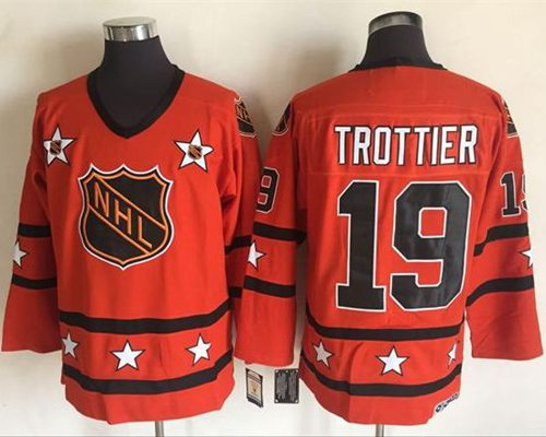 1972-81 NHL All-Star #19 Bryan Trottier Orange CCM Throwback Stitched Vintage Hockey Jersey