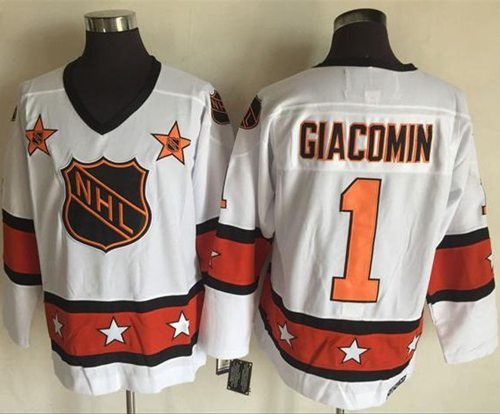 1972-81 NHL All-Star #1 Eddie Giacomin White CCM Throwback Stitched Vintage Hockey Jersey