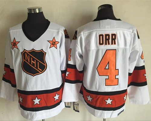 1972-81 NHL All-Star #4 Bobby Orr White CCM Throwback Stitched Vintage Hockey Jersey