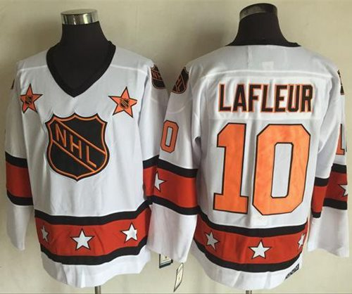 1972-81 NHL All-Star #10 Guy Lafleur White CCM Throwback Stitched Vintage Hockey Jersey