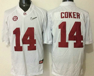 Men's Alabama Crimson Tide #14 Jake Coker White 2016 Playoff Diamond Quest College Football Nike Limited Jersey