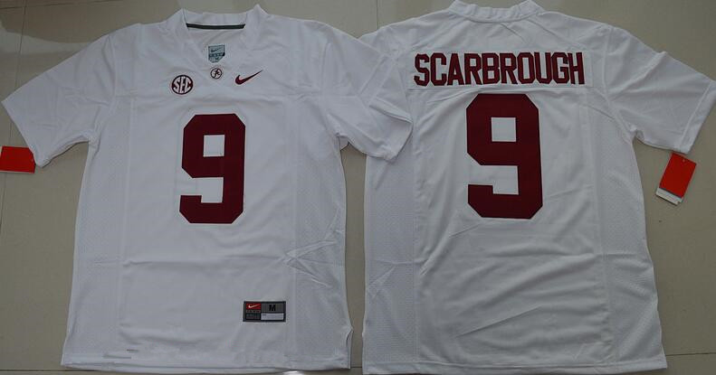 Men's Alabama Crimson Tide #9 Bo Scarbrough White Limited Stitched College Football Nike NCAA Jersey