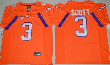Men's Clemson Tigers #3 Artavis Scott Orange Stitched NCAA Nike 2016 College Football Jersey