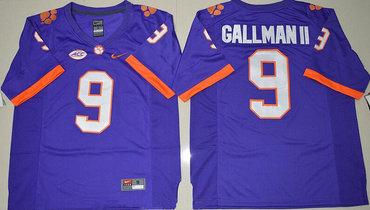 Men's Clemson Tigers #9 Wayne Gallman II Purple Stitched NCAA Nike 2016 College Football Jersey