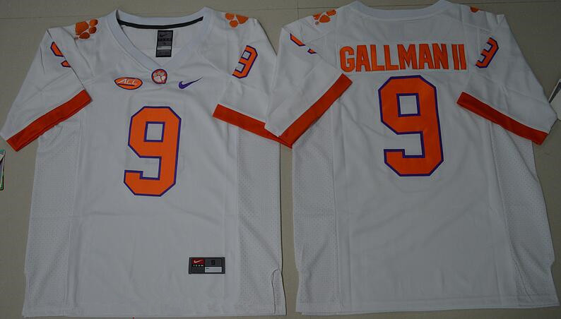 Men's Clemson Tigers #9 Wayne Gallman II White Stitched NCAA Nike 2016 College Football Jersey