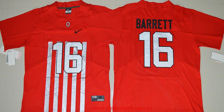 Men's Ohio State Buckeyes #16 J.T. Barrett Red Elite Stitched College Football 2016 Nike NCAA Jersey