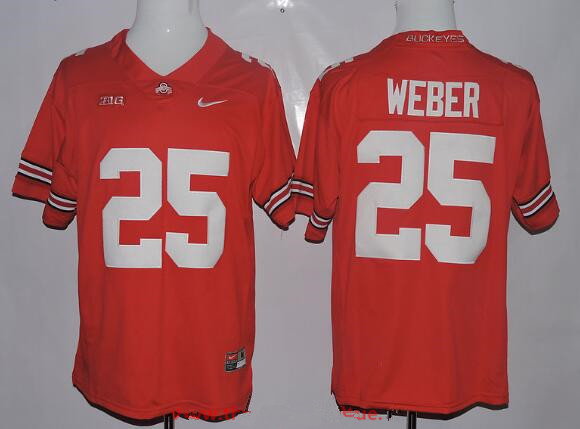 Men's Ohio State Buckeyes #25 Mike Weber Red Limited Stitched College Football Nike NCAA Jersey