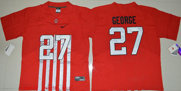 Men's Ohio State Buckeyes #27 Eddie George Red Elite Stitched College Football 2016 Nike NCAA Jersey