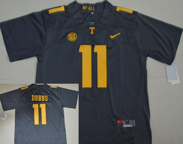 Men's Tennessee Volunteers #11 Joshua Dobbs Gray Stitched NCAA Nike College Football Jersey