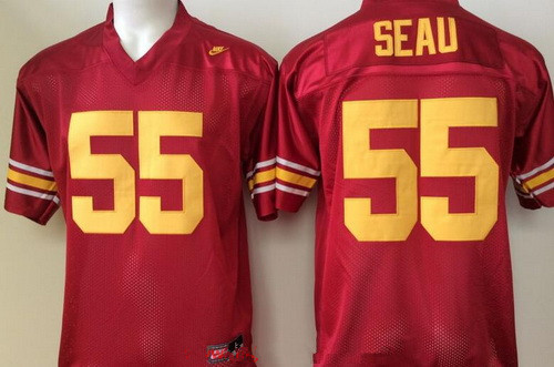 Men's USC Trojans #55 Junior Seau Red Limited Stitched College Football Nike NCAA Jersey