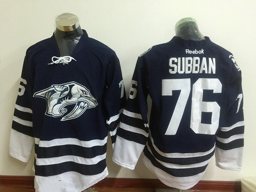 Men's Nashville Predators #76 P. K. Subban Navy Blue Third Stitched NHL Reebok Hockey Jersey