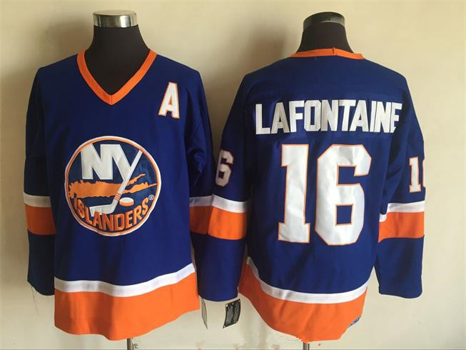 Men's New York Islanders #16 Pat LaFontaine Light Blue 1984-85 CCM Throwback Stitched Vintage Hockey Jersey