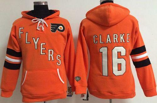 Philadelphia Flyers #16 Bobby Clarke Orange Women's Old Time Heidi NHL Hoodie