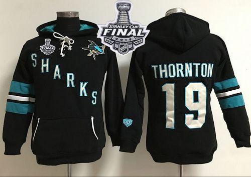 San Jose Sharks #19 Joe Thornton Black 2016 Stanley Cup Final Patch Women's Old Time Heidi Hoodie NHL Hoodie