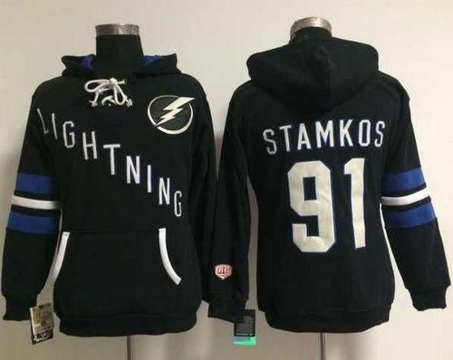 Tampa Bay Lightning #91 Steven Stamkos Black Women's Old Time Heidi NHL Hoodie