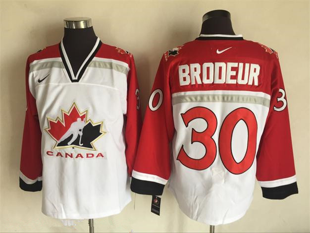 Men's 1998 Team Canada #30 Martin Brodeur White Nike Olympic Throwback Stitched Hockey Jersey