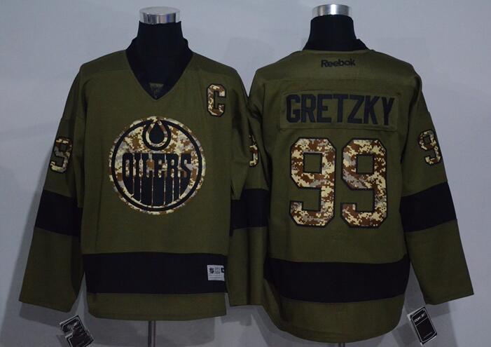 Men's Edmonton Oilers #99 Wayne Gretzky Green Salute to Service Stitched NHL Reebok Hockey Jersey