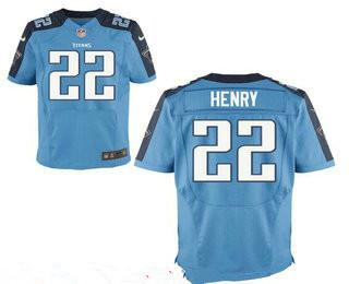 Men's Tennessee Titans #22 Derrick Henry Light Blue Team Color Stitched NFL Nike Elite Jersey