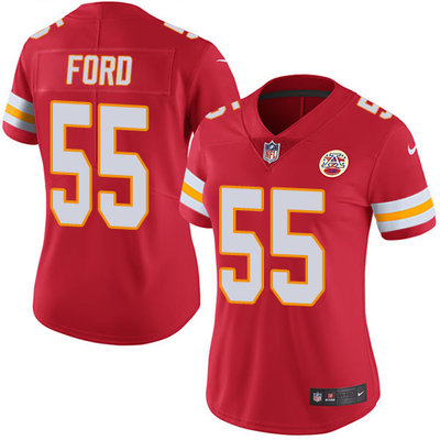 Women's Nike Kansas City Chiefs #55 Dee Ford Red Team Color Stitched NFL Vapor Untouchable Limited Jersey