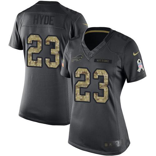 Women's Nike NFL Buffalo Bills #23 Micah Hyde  2016 Salute to Service Limited Black Women's Jersey