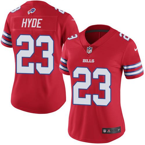 Women's Nike NFL Buffalo Bills #23 Micah Hyde  Rush Vapor UntouchableLimited Red Jersey