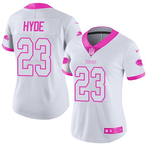 Women's Nike NFL Buffalo Bills #23 Rush Fashion Micah Hyde Limited White Pink Jersey