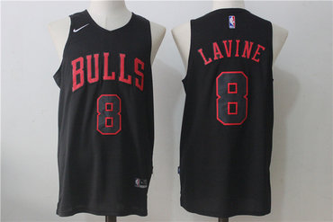 Men's Chicago Bulls #8 Zach LaVine All Black 2017-2018 Nike Swingman Stitched NBA Jersey
