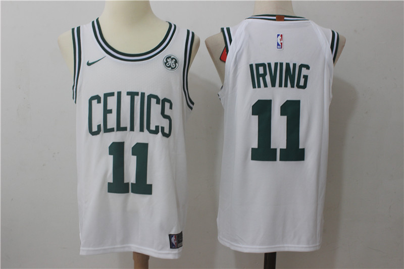 Men's Boston Celtics #11 Kyrie Irving White Stitched NBA Adidas Revolution 30 Swingman Jersey