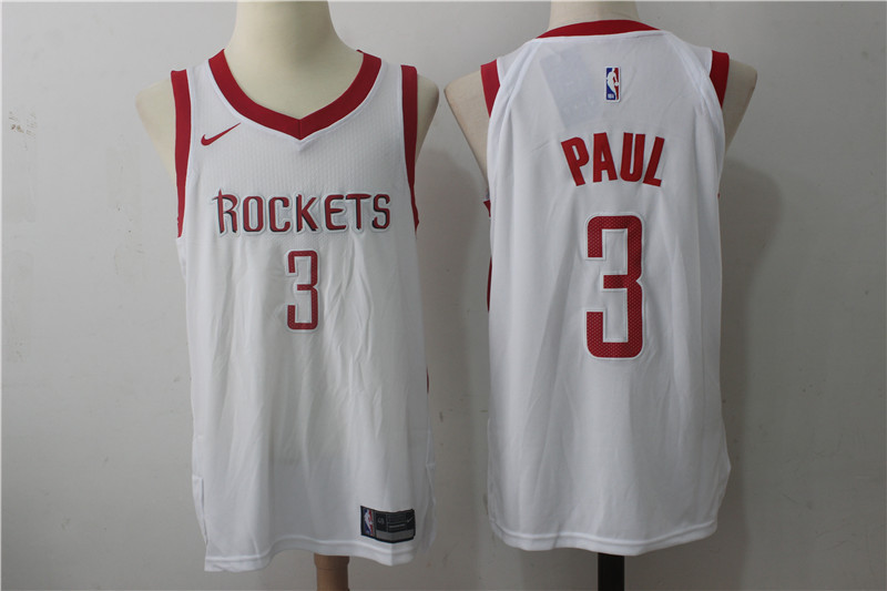 Men's Houston Rockets #3 Chris Paul New White 2017-2018 Nike Swingman Stitched NBA Jersey