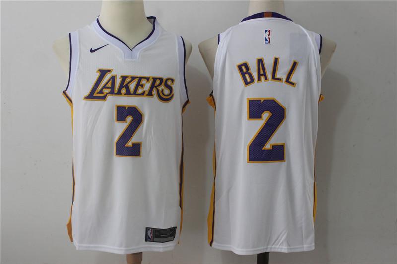 Men's Los Angeles Lakers #2 Lonzo Ball New White 2017-2018 Nike Swingman Stitched NBA Jersey