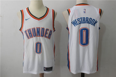 Men's Oklahoma City Thunder #0 Russell Westbrook New White 2017-2018 Nike Swingman Stitched NBA Jersey