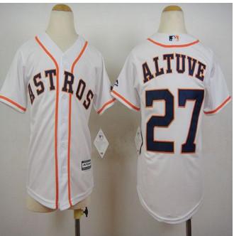 Youth Houston Astros #27 Jose Altuve White Cool Base Stitched Baseball Jersey