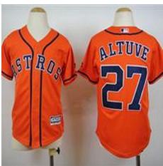 Youth Houston Astros #27 Jose Altuve Orange Cool Base Stitched Baseball Jersey