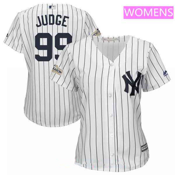 Women's New York Yankees #99 Aaron Judge Majestic White 2017 Postseason Cool Base Team Jersey