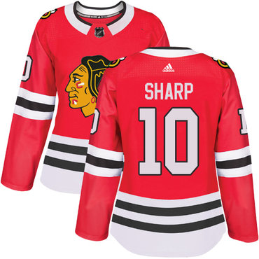 Adidas Chicago Blackhawks #10 Patrick Sharp Red Home Authentic Women's Stitched NHL Jersey