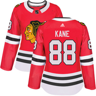 Adidas Chicago Blackhawks #88 Patrick Kane Red Home Authentic Women's Stitched NHL Jersey