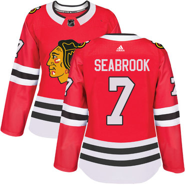 Adidas Chicago Blackhawks #7 Brent Seabrook Red Home Authentic Women's Stitched NHL Jersey