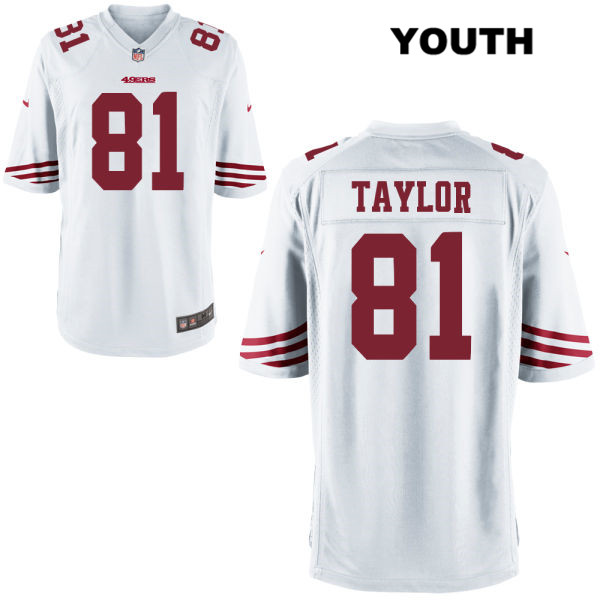 Youth Nike San Francisco 49ers Alternate #81 Trent Taylor White Game Football Jersey